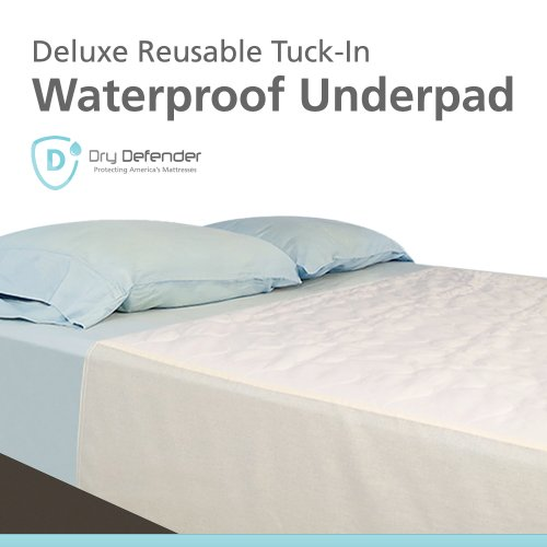 Washable Waterproof Mattress Sheet Protector Bed Extra Large Underpad - 36in x 70in with Tuck-in Tails