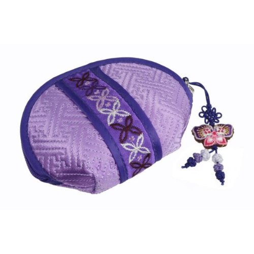 The Newest Shell Design Fabric Wallet Made of Korean Traditional Colorful Fabric. Pastel Purple Color. Fine Embroidery of Flower and Traditional Pattern . Zipper Closure. Good Quality. - Ban Korean