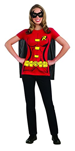 Batgirl And Robin Halloween Costumes (Female Superhero T-Shirt Adult Costume Robin - X-Large)