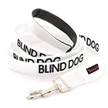 BLIND DOG White Color Coded Nylon 2 Foot 4 Foot 6 Foot Luxury Padded Handle Dog Leash (No/Limited Sight) PREVENTS Accidents by Warning Others of Your Dog in Advance (6 Foot Leash)