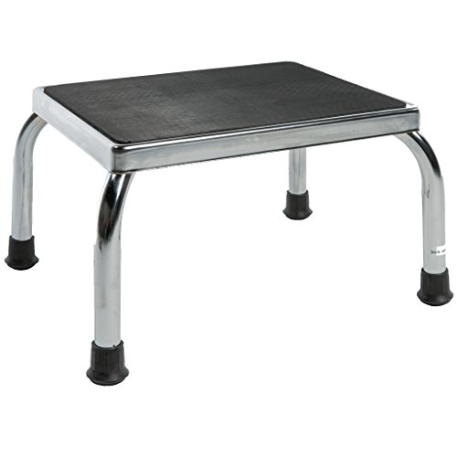 - PCP Footstool Metal Frame Non Skid Rubber Platform, Chrome