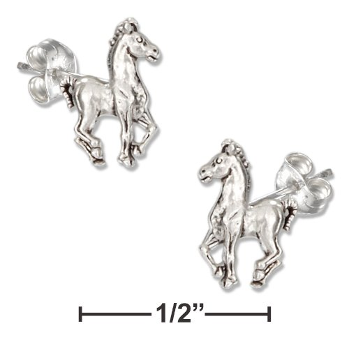 Sterling Silver Mini Prancing Horse Earrings on Hypo-allergenic Steel Posts/nuts