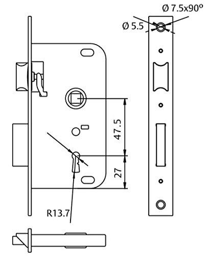 Azbe 3010137 Cerradura Tesa 2002-hl//30 30 mm Latonado