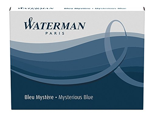 Waterman Standard Long Cartridges for Fountain Pens, Mysterious Blue, Box of 8 (S0110910)