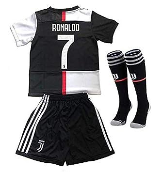 Brosin Camisetas Jersey de fútbol Traje de Entrenamiento de Infantil, CR7 Cristiano Ronaldo #7 Juventus Traje de Niño Pantalones + Cortos + Calcetín