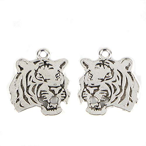 - Monrocco 50 Pieces Vintage Tibetan Silver Tiger Head Jewelry Making Charms Pendant Findings Craft Supplies Bulk