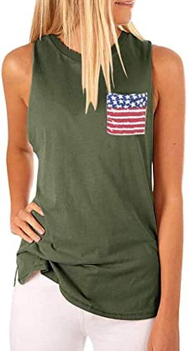 VEZAD Button Down Camo Shirts Womens Casual Camouflage American Flag Tank Tops