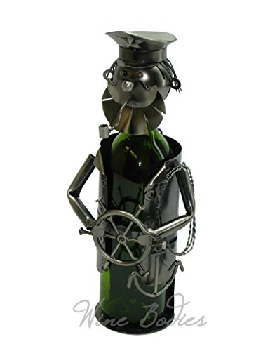 (WINE BODIES ZB815 Sailor Bearded Captain Metal Wine Bottle Holder)