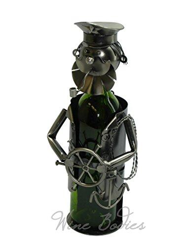 WINE BODIES ZB815 Sailor Bearded Captain Metal Wine Bottle Holder, Charcoal