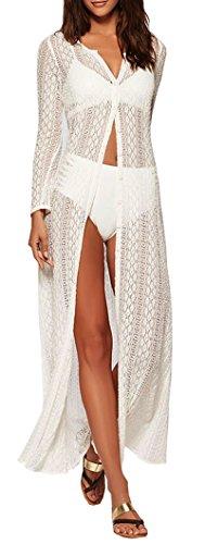 Wander Agio Womens Bikini Cover Ups Beach Coverup Swimsuits Sunscreen Long Covers All Lace White