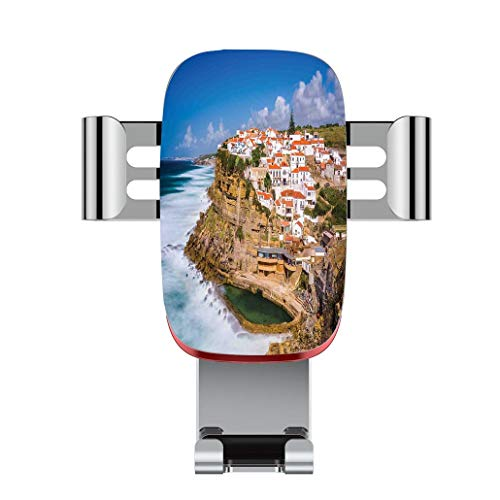 Metal automatic car phone holder,Cityscape,Portugal Seaside on the Cliffs with Sky View Mediterranean Ocean Villa,adjustable 360 degree rotation, car phone holder compatible with 4-6.2 inch smartphone