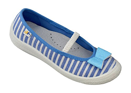 3f freedom for feet Mädchenschuhe mit Schleife Glitzern Atmungsaktiv Schuhe Freizeitschuhe Ballerinas mit Echtes Leder Einlegesohlen - Süß 5 Farben Größe 30-36 Hellblau mit Streifen 4BT1/5