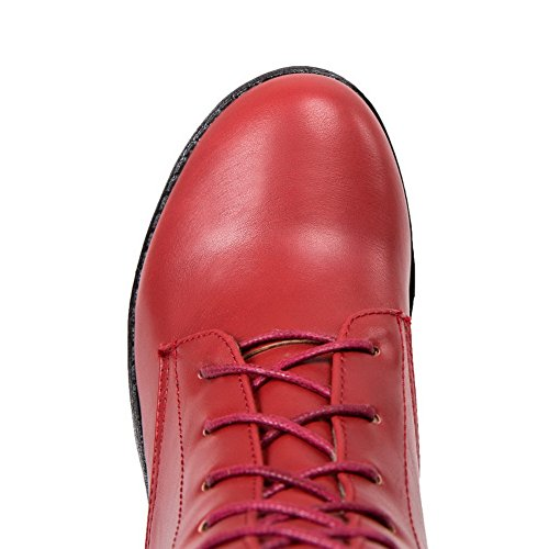 Material Zipper Kitten AgooLar Closed Soft Round Women's Heels Toe top High Boots Red AqRqtEwW