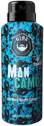 GIBS Grooming Man Camo Body Spray For Men-Refreshing blend of sea salt & Citrus - 4 Oz