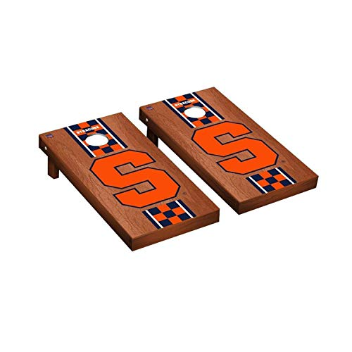- Victory Tailgate Regulation Collegiate NCAA Rosewood Stained Stripe Series Cornhole Board Set - 2 Boards, 8 Bags - Syracuse Orange