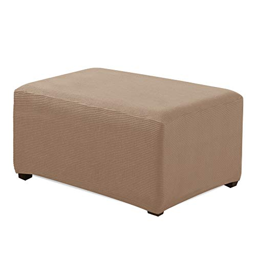 CHUN YI Oversized Ottoman Slipcover Jacquard Polyester Stretch Fabric Rectangle Folding Storage Stool Ottoman Cover Furniture Protector for Living Room (Oversize, Camel)