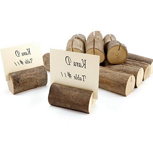 Kaputar Rustic Wood Tree Slices Name Menu Picture Place Card Holders Decor Log | Model WDDNG -689
