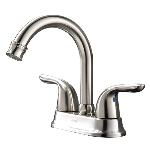 Modern 2 Handle Brushed Nickel Bathroom Sink Faucet, Vessel Vanity Sink Faucet Without Pop Up - Center 4' Sink Bathroom