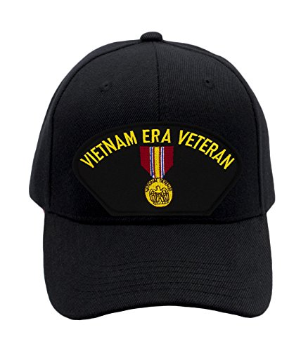 Patchtown National Defense Service Medal - Vietnam Era Hat/Ballcap Adjustable One Size Fits Most (Black, Standard (No Flag))