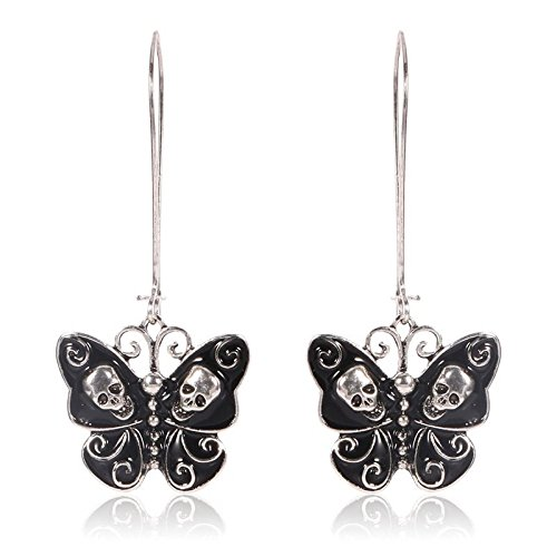 Sale Elegant Women Vintage Punk Alloy Jewelry Butterfly Skull Dangle Earrings