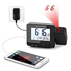 Alarm Clock, Smartro Digital Projection Clock with Dual Alarms, Indoor Thermometer, USB Phone Charging