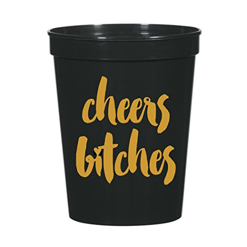Cheers Bitches with Small Heart Metallic Gold and Black Party Stadium Cups