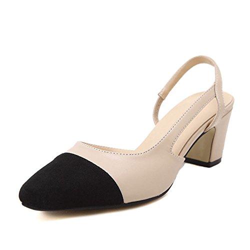 ZHZNVX Bold los zapatos de tacón alto con un único hechizo de tacón alto de color zapatos de mujer de primavera y verano con nuevo grosor de tacón alto de tacón puntiagudo expuestos sandalias Apricot suede