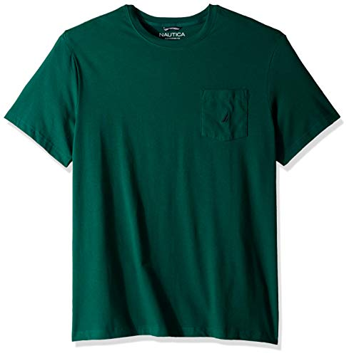 Nautica Men's Solid Crew Neck Short Sleeve Pocket T-Shirt, tidal Green, 3XLT Tall