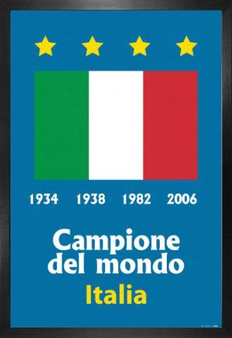 World Italy Cup Champions - 1art1 Football Poster and Frame (MDF) - Italy World Cup Champion 1934 1938 1982 2006 (36 x 24 inches)