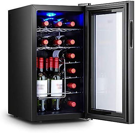 LLZH Vinoteca, Frigorifico Independiente, Nevera Vino de Bar de 18 Botellas, Control Digital, Puerta de Vidrio para Tinto, Blanco, Mini Refrigerador de Encimera,Metal Shelves