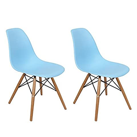 ELEGAN Set of Two 2 Light Blue Dining Chairs - Mid Century Modern Chair - Molded Plastic Eames Style Chair With Wooden - Bamboo Style Legs