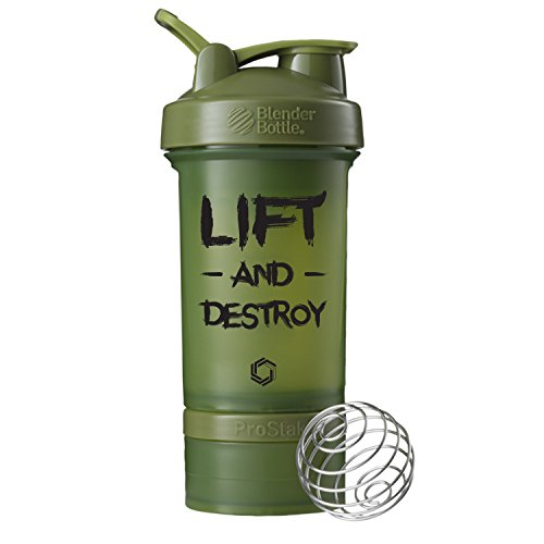 Lift and Destroy ProStak Blender Bottle, 22oz Protein Shaker cup with Twist N' Lock Storage (Moss/Black)