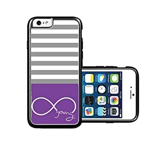 RCGrafix Brand Forever Young Purple & Grey Stripes White iPhone 6 Case - Fits NEW Apple iPhone 6 by icecream design