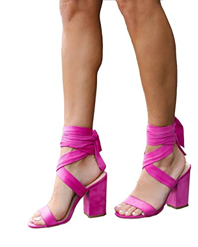(Puedizux Women's Fashion Chunky Block High Heel Shoes Ankle Wrap Lace Up Sandals For Party Dress)