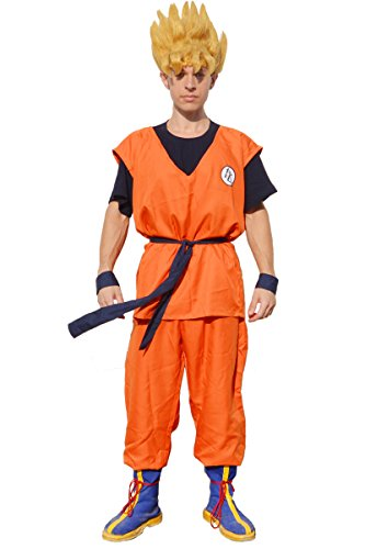 Miccostumes Men's Dragon Ball Goku Cosplay Costume Large Orange and Dark Blue