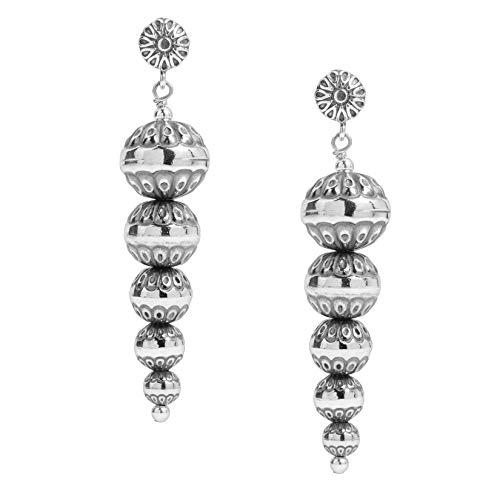 American West Sterling Silver Inverted Native Pearl Drop Earrings
