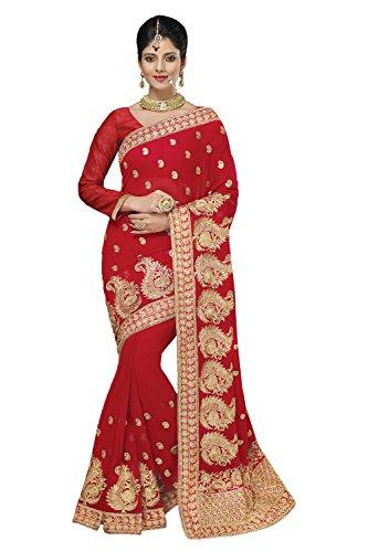 Appealing Saree - PinkCityCreations Red Color Indian Saree Sari With Appealing Embroidered Pallu