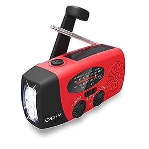 Esky Solar Weather Radios Hand Crank Self Powered Emergency FM/AM/NOAA Radio with LED Flashlight and 1000mAh Red