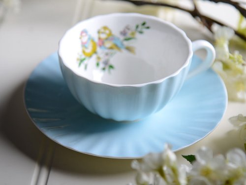 Bird Song Shabby Chic Blue Fine China Cup and Saucer
