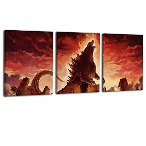 TRdY PAGE Little Monster 3 Panel Godzilla Angry Fire Burning Framed and Stretched Printed On Canvas Wall Decor Modern Artwork Art for Boys and Girls Bedroom Bathroom -