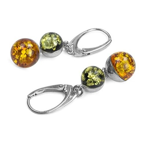 Multicolor Amber Sterling Silver Round Leverback Earrings
