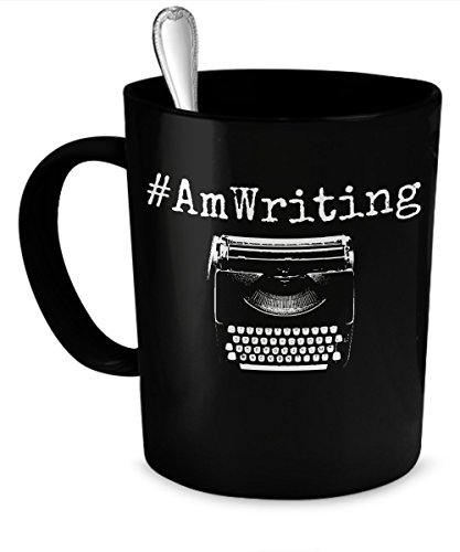 Writer Mug - #AmWriting Funny Quote Author Gift Coffee Mug - Inspirational Novelty Gifts For Writers, Authors, Poets, Musicians, Bloggers, Journalists, Teachers and College Students (11 oz, Black)