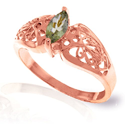ALARRI 0.2 Carat 14K Solid Rose Gold Filigree Ring Green Amethyst Ring Size 7.5