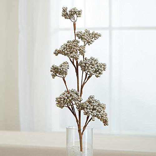 Factory Direct Craft Silver Artificial Berry Cluster Spray