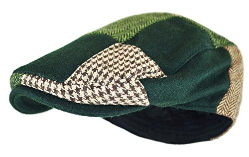 Men's Classic Herringbone Tweed Wool Blend Newsboy Ivy Hat (Large/X-Large, Green-Patchwork)