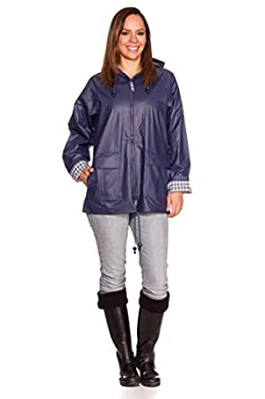 RAIN SLICKS Women's Classic Look Raincoat Hooded Plaid Lined Waterproof Jacket 1X Plus Navy