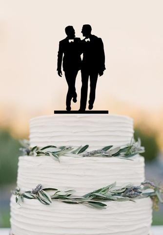 Gay Silhouette Homosexual Wedding Cake Topper For Men Gift Gay Wedding Cake  Topper Same Sex Cake