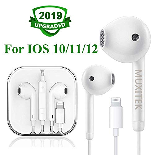 MUXITEK Earbuds,Microphone Earphones Stereo Headphones Noise Isolating Headset Compatible with iPhone X/XS/XS Max/XR/8/7 Earphones (White)