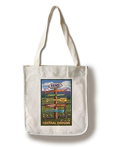 Bend, Central Oregon - Destination Signpost (100% Cotton Tote Bag - - Bend Oregon Shopping In