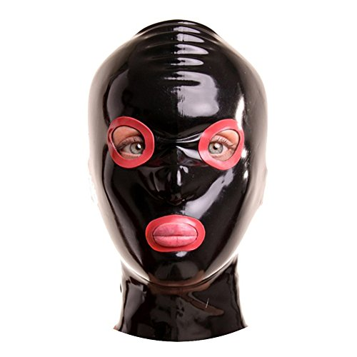EXLATEX Rubber Latex Hood Mask with Contrast Colour Around Eyes and Mouth Opening with Zipper Open with Nostril (Medium,